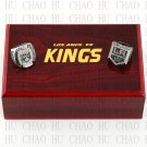 One set (2PCS) 2012 2014 Los Angeles Kings Stanley Cup Championship Ring With Wooden Box