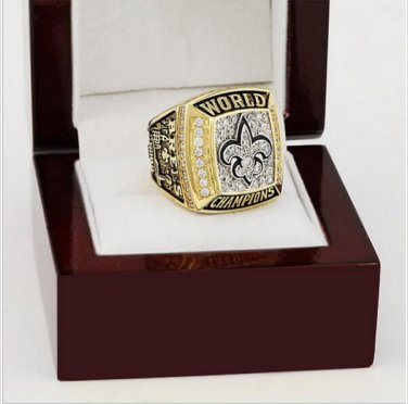 New Orleans saints 2009 super bowl football championship ring size 10 - 13 and wooden box