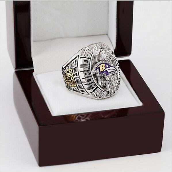 2012 Super Bowl Baltimore Ravens Football Championship Ring Size 10-13 With High Quality Wooden Box