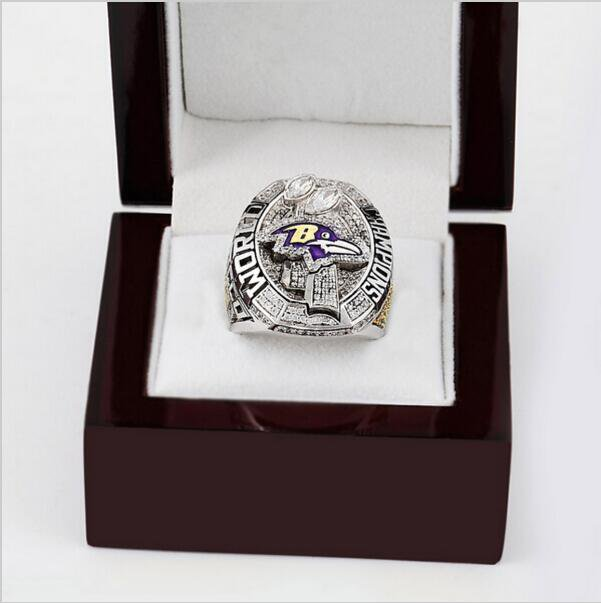 2012 Super Bowl Baltimore Ravens Football Championship Ring Size 11 With High Quality Wooden Box