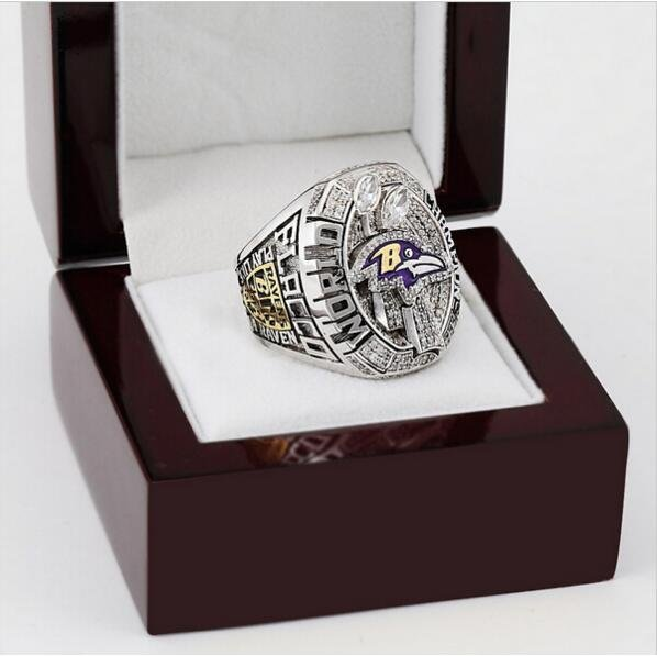 2012 Super Bowl Baltimore Ravens Football Championship Ring Size 13 With High Quality Wooden Box
