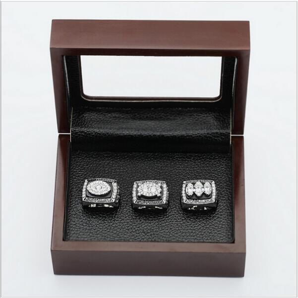 (3PCS)  Oakland Raiders Patriots Super Bowl Championship Ring Size 10 With Wooden Box