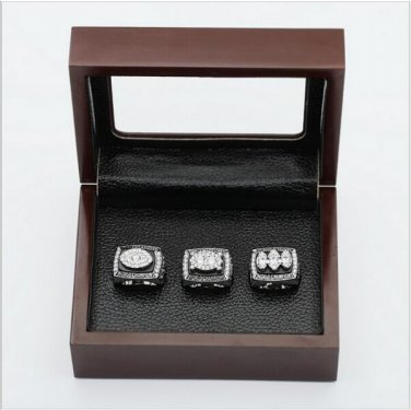 (3PCS)  Oakland Raiders Patriots Super Bowl Championship Ring Size 12 With Wooden Box