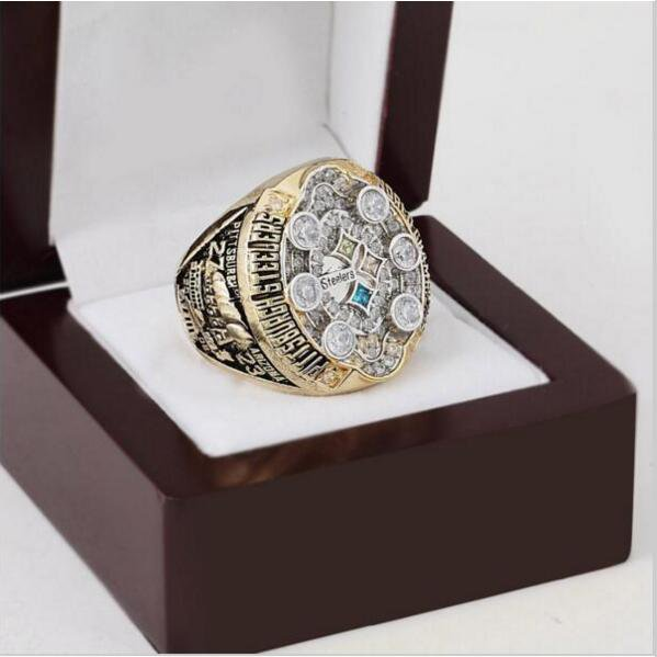 2008 Pittsburgh Steelers NFL Super Bowl Championship Ring 10-13 size with cherry wooden case