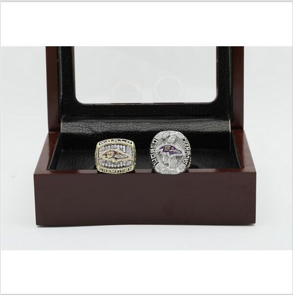 One Set (2PCS) 2000 And 2012 Baltimore Ravens Championship Ring Size 10-13 With Wooden Box