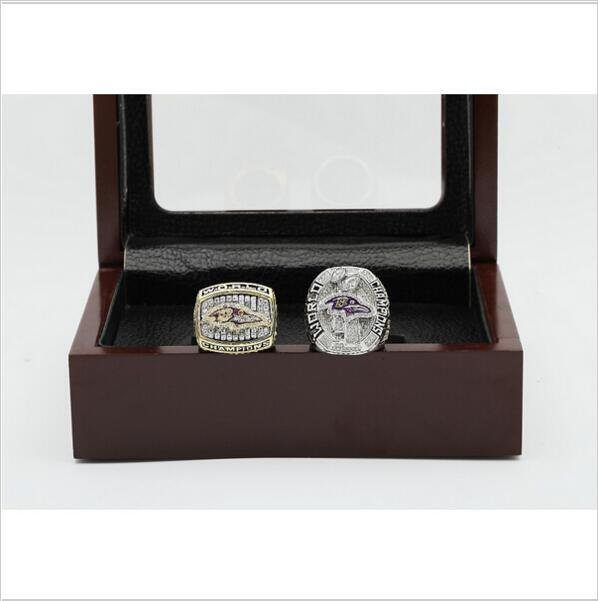 One Set (2PCS) 2000 And 2012 Baltimore Ravens Championship Ring Size 13 With Wooden Box