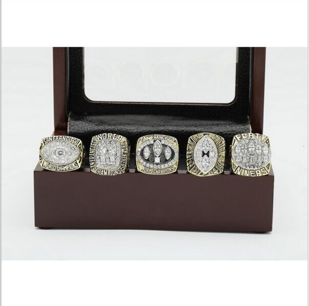 One Set (5PCS)  San Francisco 49ers Championship Ring Size 10-13 With Wooden Box