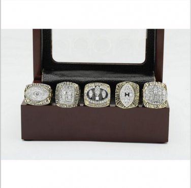 One Set (5PCS)  San Francisco 49ers Championship Ring Size 12 With Wooden Box