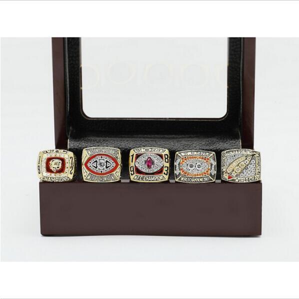 One Set (5PCS) WASHINGTON REDSKINS Super Bowl Championship Ring Size 10  With Wooden Box