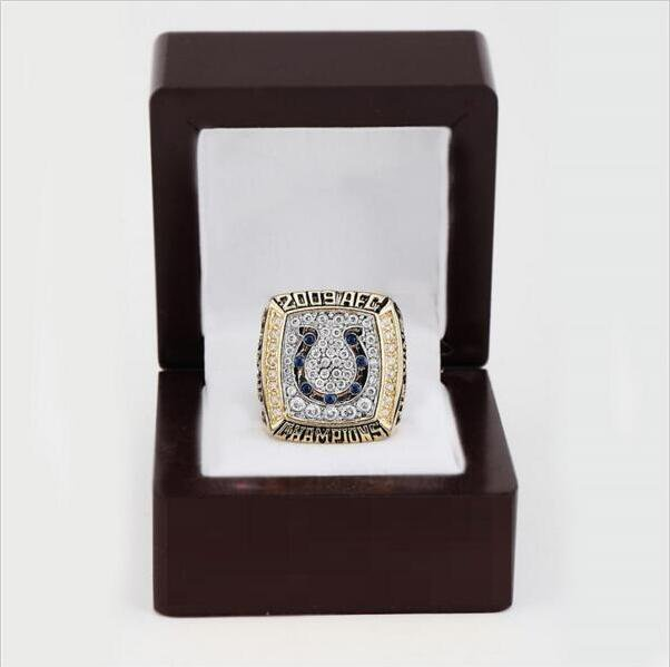 2009 Indianapolis Colts AFC FOOTBALL Championship Ring 10-13 size with cherry wooden case as a gift