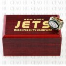 Team Logo wooden case 1968 New York Jets Super Bowl Championship Ring 10-13 size