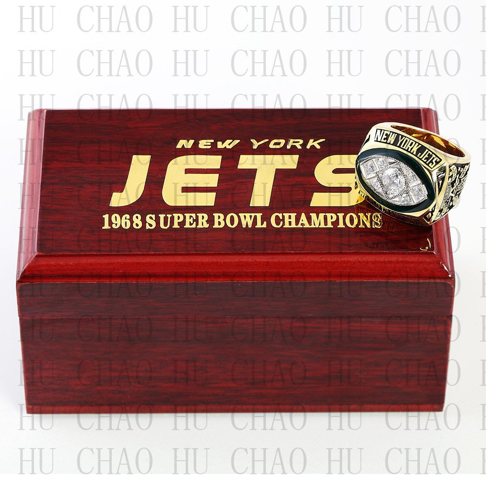 Team Logo wooden case 1968 New York Jets Super Bowl Championship Ring 11 size