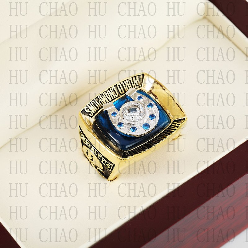 Team Logo wooden case 1970 Baltimore Colts Super Bowl Championship Ring 10-13 size