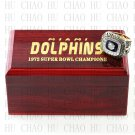 Team Logo wooden case 1972 Miami Dolphins Super Bowl Championship Ring 10-13 size solid back