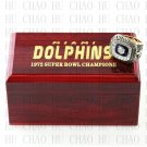 Team Logo wooden case 1972 Miami Dolphins Super Bowl Championship Ring 12 size solid back