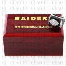 Team Logo wooden case 1976 Oakland Raiders Super Bowl Championship Ring 12 size solid back