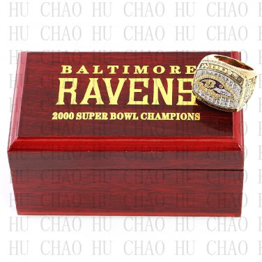 Year 2000 Baltimore Ravens Super Bowl Championship Ring 10 Size  With High Quality Wooden Box