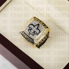 Year 2009 New Orleans Saints Super Bowl Championship Ring 10-13 Size With High Quality Wooden Box
