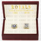 One set (2PCS) 1985 2015 Kansas City Royals World Series Championship Ring With Wooden Box
