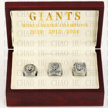 2010 2012 2014 San Francisco Giants World Series Championship Ring With Wooden Box