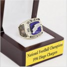 1994 Diego Chargers NFC Football Championship Ring 10-13 size with cherry wooden case