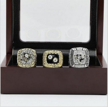 1991 1992 And 2009 PITTSBURGH PENGUINS STANLEY CUP Championship Rings Wooden Box Size 10-13