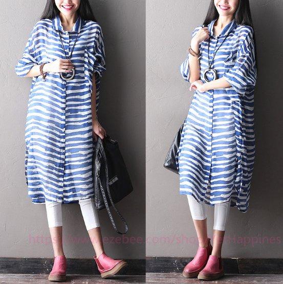 Women Fashion Cotton Stripe Shirt Dress