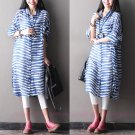 Women Fashion Cotton Stripe Shirt Dress
