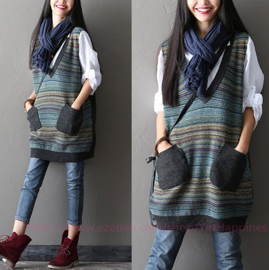 Women Casual V-Neck Stitching Sweater Vest