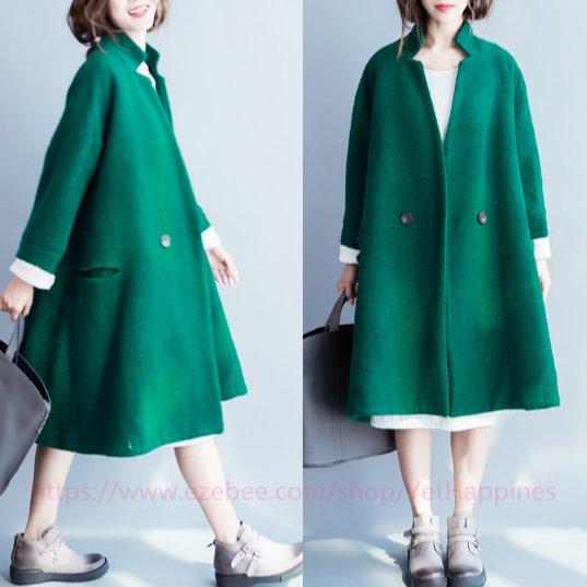Women Vintage Loose Wool Coat