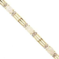 oval cut Opal Diamond 14K yellow gold link bracelet