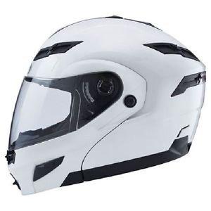 Large L GMax GM54S Pearl White LED Modular Motorcycle Helmet