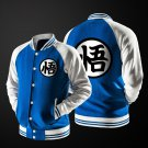 Dragon Ball Goku Mandarin Collar Blue Autumn Baseball Varsity Jacket