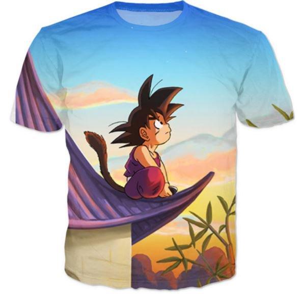 DBZ Cute Kid Goku Sitting Sky All Over Print T-Shirt