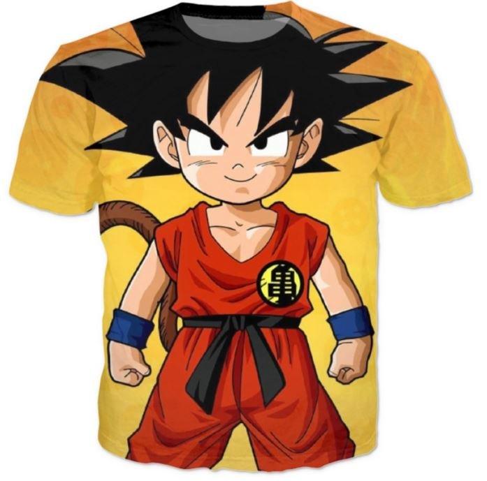 Cute Young Kid Goku Yellow Dragon Ball 3D T-Shirt