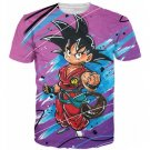 Kid Young Goku Blue Outfit Gi 3D Pink DBZ T-Shirt