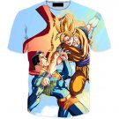 Powerful Fighter Goku Beats Superman 3D Blue T-Shirt