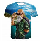 Master Roshi Beach Summer 3D Blue Hipster T-Shirt