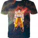 Goku Flying in Outer Space Galaxy 3D Black T-shirt