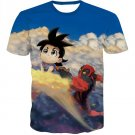 Flying Nimbus Cloud Kid Goku and  Deadpool Funny T-Shirt