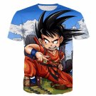Dragon Ball Anime Angry Kid Goku Sky Clouds Blue 3D T- Shirt