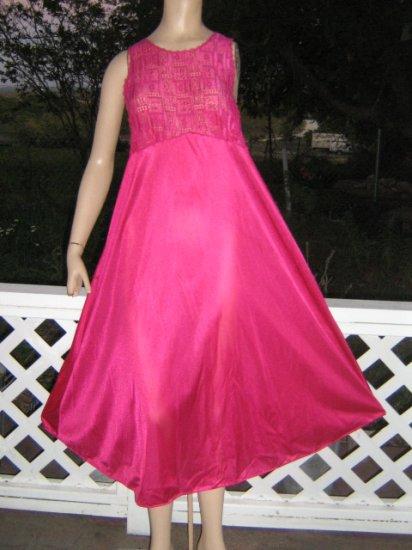 SEXY peek back Raspberry vintage Nightgown L