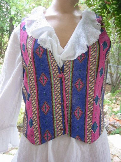 sold Cowgirl Vintage 70s Pink Purple VEST western M