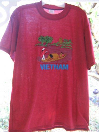 # 1  Vintage indie Scooter Tourist Tee shirt Viet Nam embroidered scene