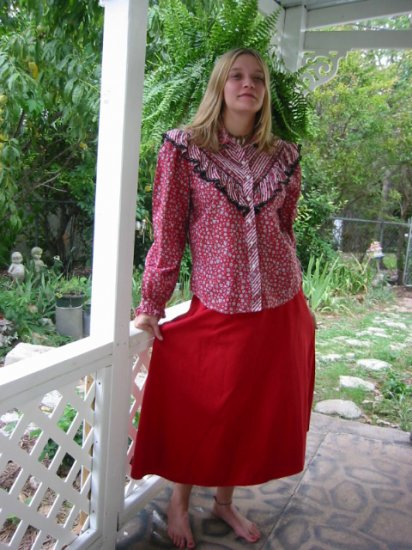 *+ CUTE Cowgirl western RED Denim A line skirt ~ 12