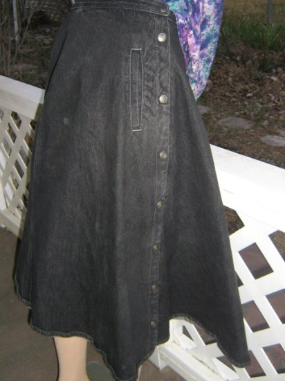 Black Denim Cowgirl  Western Wrap Skirt Full A-Line XS S