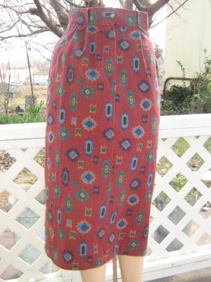 * + Vintage Western Cowgirl Indian Print PENCIL midi Skirt S