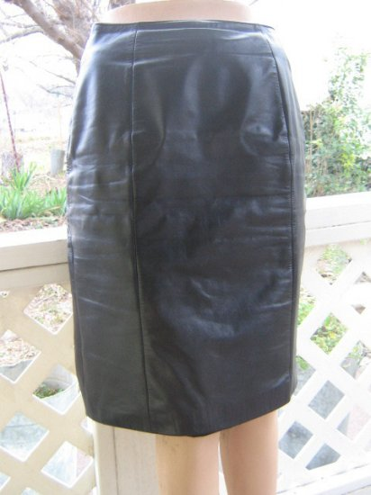 Black Leather Vintage Wilson Sexy Pencil Skirt  S size 8