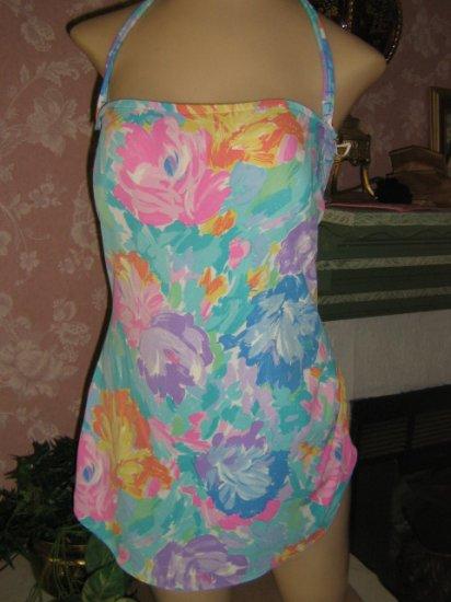 Beautiful watercolor Rose Reid vintage  Bathing Suit Swimsuit 14 Tunic