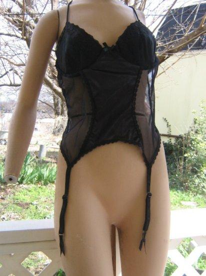 Bustier Black Nylon Chiffon inset garters XL plus size 2X